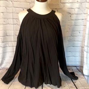 Express Large black rayon open shoulder blouse